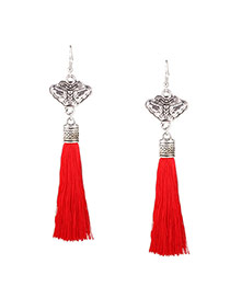 Bohemia Red Long Tassel Pendant Decorated Simple Earring