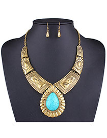 Exaggerated Gold Color Waterdrop Gemstone Decorated Geometric Shape Jewelry Sets