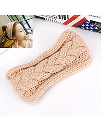 Fashion Beige Twist Shape Decorated Pure Color Simple Hair Band Hair Hoop