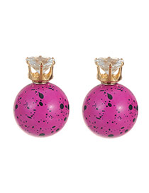 Sweet Plum Red Scrawl Pattern Decorated Ball Shape Earring