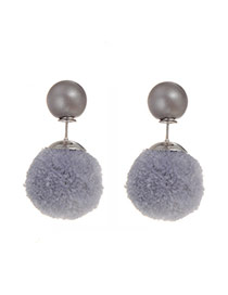 Sweet Green Plush Ball Shape Decorated Pure Color Earring