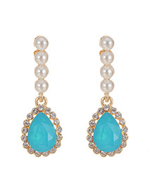 Elegant Sky Blue Waterdrop Gemstone Pendant Decorated Earrings