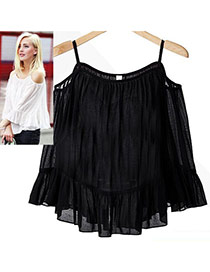 Sweet Black Pure Color Decorated Off-the-shoulder Strap Falbala Skirt