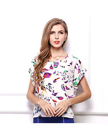 Trendy Multi-color Brid Pattern Decorated Short Sleeve Simple T-shirt