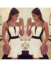 Sexy White+black Color Matching Dcorated Decorated Sleeveless Strap Fishtail Skirt