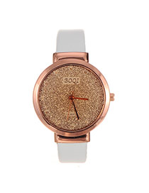 Elegant White Letter Decorated Pure Color Strap Watch