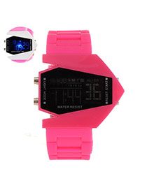 Fashion Plum Red Plane Design Pure Color Strap Noctilucence Watch