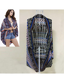 Trendy Sapphire Blue Geometric Pattern Decorated Bat Shape Bikini Cover Up Smock