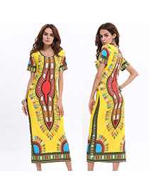Vintage Yellow Geometric Shape Pattern Decorated Short Sleeve Loose Long Dress