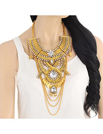 Exaggerate Gold Color Geometric Diamond &coin Decorated Collar Necalace