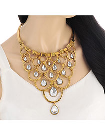 Exaggerate Gold Color Waterdrop Diamond Decorated Hollow Out Necklace