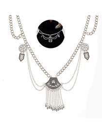 Elegant Silver Color Metal Tassel Pendant Decorated Body Chain