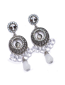 Exquisite White Waterdrop Shape Bead Pendant Decorated Round Earring