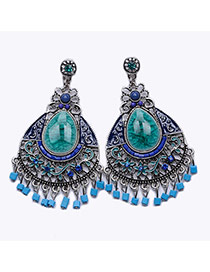 Bohemia Green Beads Pendant Decorated Hollow Out Waterdrop Shape Earring
