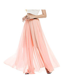 Bohemia Pink Pure Color Decorated Beach Long Skirts