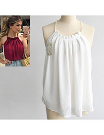 Sweet White Pure Color Decorated Off Shoulder Spaghetti  Strap Vest