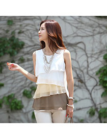Sweet Coffee Irregular Gradients Decorated Sleeveless Multilayer Tops