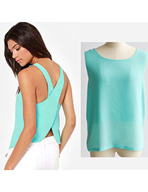 Sweet Light Green Pure Color Decorated Backless Cross Sleelvess Tank Tops