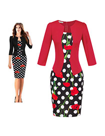 Fashion Red Flower&dot Decorated Three Quarter Sleeve False Two-piece Dress(with Belt)