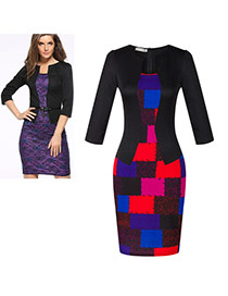 Fashion Black Grid Decorated Three Quarter Sleeve False Two-piece Dress(with Belt)