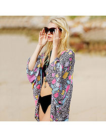Fashion Plum Red+blue Flower Pattern Decorated Loose Short Bikini Cover Up Smock