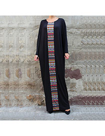 Fashion Black Geometric Shape Jointing Decorated Long Sleeve Loose Dress
