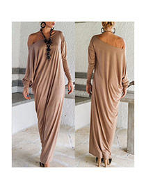 Fashion Khaki Pure Color Split Decorated Long Sleeve Loose Long Dress