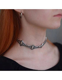 Vintage Silver Color Rhombus Gemtone Decorated Geometric Shape Collar Necklace