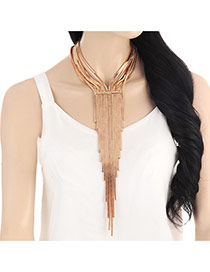Exaggerated Gold Color Long Tassel Pendant Decorated Multilayer Necklace