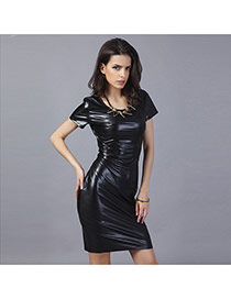 Sexy Black Pure Color Decorated Short Sleeve Tight Dress