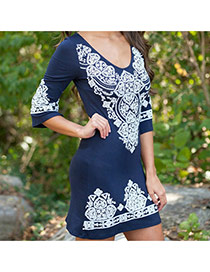 Trendy Navy Blue Lace Flower Pattern Decorated Three Quarter Sleeve Dress