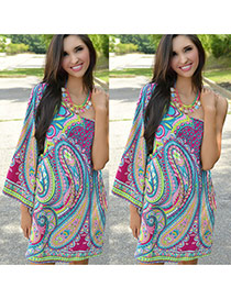Trendy Green Geometric Pattern Decorated Sloping Shoulder Loose Dress