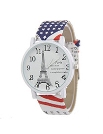 Vintage Blue+red Eiffel Tower Decorated Flag Pattern Strap Watch