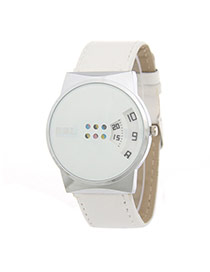 Personality White Fan Shape Digit Decorated Pure Color Strap Watch