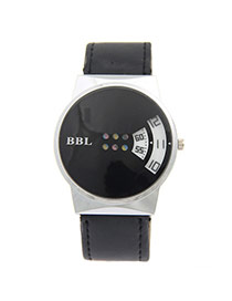 Personality Black Fan Shape Digit Decorated Pure Color Strap Watch