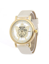 Elegant White Hollow Out Butterfly Decorated Pure Color Strap Watch