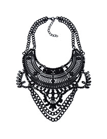 Exaggerated Black Hollow Out Geometric Shape Decorated Double Layer Necklace