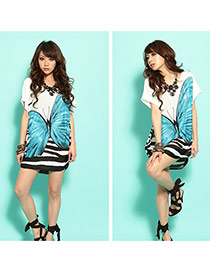 Fashion Blue Butterfly Pattern Decorated Short Sleeve Long T-shirt