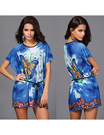 Bohemia Blue Butterfly Pattern Decorated Batwing Sleeve Short Dress
