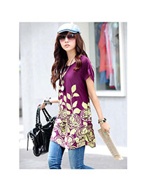 Fashion Purple Leaf&flower Pattern Decorated Short Sleeve Short Dress