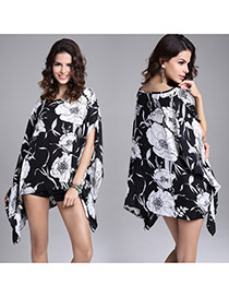 Exaggerate White+black Big Flower Pattern Decorated Batwing Sleeve Blouse