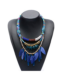 Vintage Blue Feather Pendant Decorated Multilayer Necklace