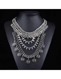 Exaggerate Silver Color Metal Coins Decorated Multilayer Short Chain Necklace