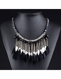 Retro Black Feather Pendant Decorated Simple Short Chain Necklace
