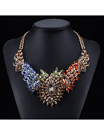 Luxury Multi-color Waterdrop Shape Gemstone Decorated Short Chain Necklace