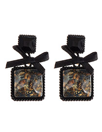 Vintage Black Bowknot Decorated Square Gemstone Earring