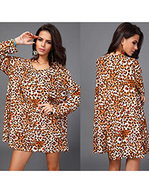 Casual Leopard Grain Color Matching Decorated Long Sleeve Large Size Dress