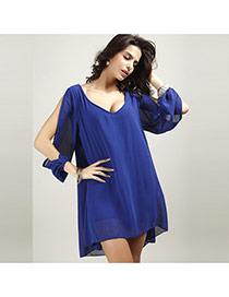 Casual Sapphire Blue Pure Color Decorated V Neckline A- Line Short Dress