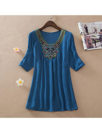 Casual Sapphire Blue Embroidery Pattern Decorated Short Sleeve Long Blouse