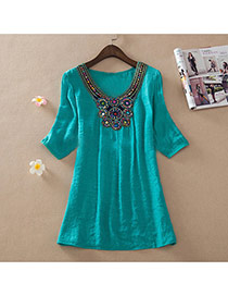 Casual Green Embroidery Pattern Decorated Short Sleeve Long Blouse